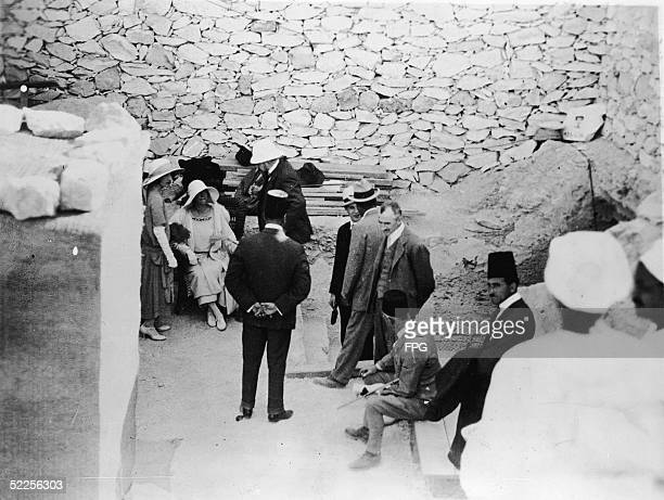 Queen Elisabeth of Belgium visits the recently opened tomb of Pharaoh Tutankhamen better known as King Tut with her son the Duke of Brabant later...
