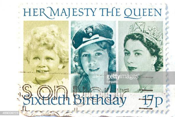 queen elizabeth 2 postage stamp. - rms queen elizabeth 2 stock photos and pictures