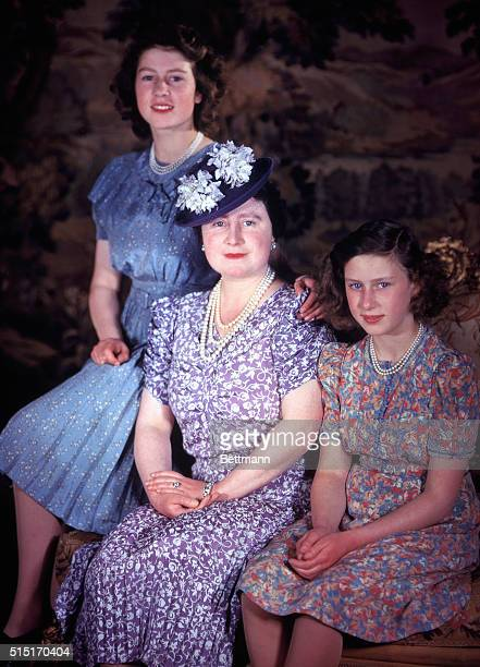 Queen Elizabeth and daughters Princesses Elizabeth and Margaret Rose. Photograph. BPA 2