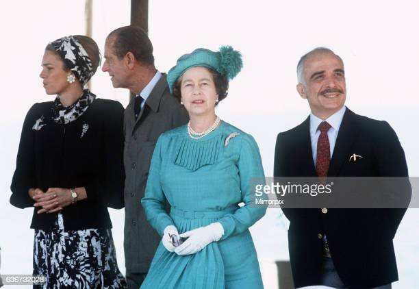 Queen Elizabeth and her husband Prince Phillip Duke of Edinburgh pictured at the Dead sea in Jordan with King Hussein and Queen Noor of Jordan March...
