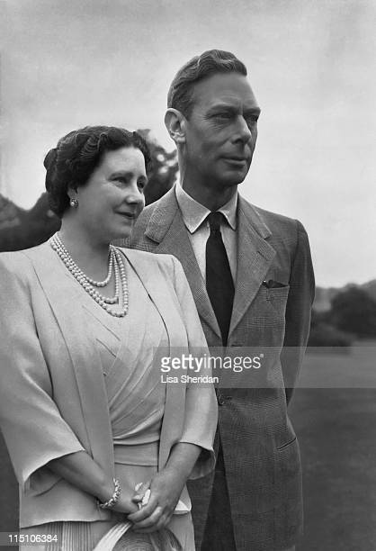 Queen Elizabeth and King George VI in the grounds of Windsor Castle in Windsor England on July 08 1946