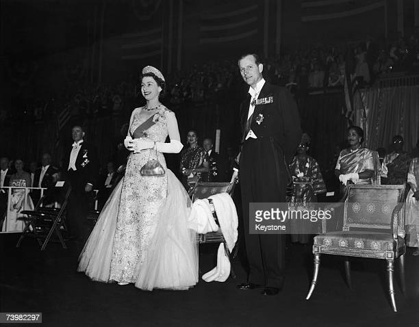 Queen Elizabeth and Prince Philip at the Commonwealth Ball at the 77th Regiment Armoury New York 23rd October 1957 The ball was held in their honour...