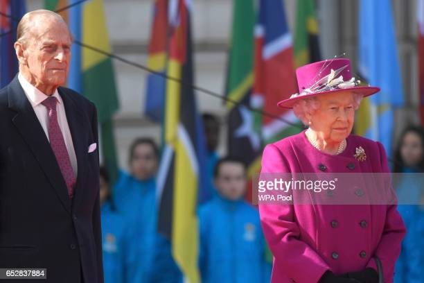 Queen Elizabeth and Prince Philip Duke of Edinburgh during the launch of The Queen's Baton Relay for the XXI Commonwealth Games being held on the...