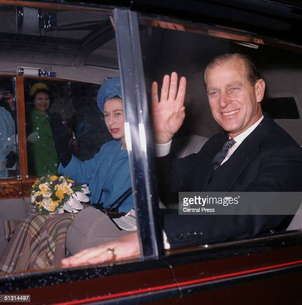 Queen Elizabeth and Prince Philip Duke of Edinburgh leaving Westminster Abbey after the annual Maundy Ceremony 7th April 1966