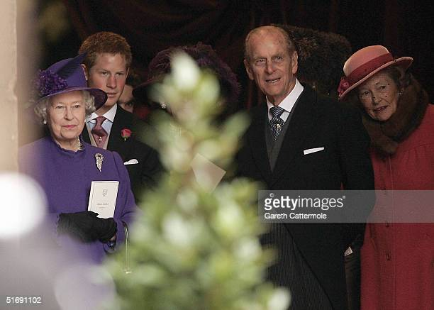 Queen Elizabeth and Prince Philip leave Chester Cathedral after the wedding of Lady Tamara Grovesnor on November 6 2004 in Chester England Lady...