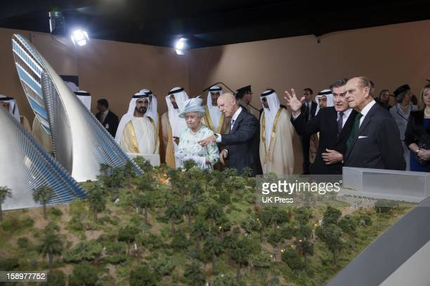 Queen Elizabeth And The Duke Of Edinburgh Attend An Unveiling Of A Design For The Shiekh Zayed National Museum And After Take A Walkabout Accompanied...