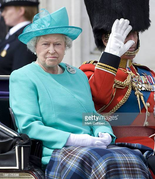 Queen Elizabeth And The Duke Of Edinburgh Attend The 2008 Trooping Of The Colour Ceremony In London