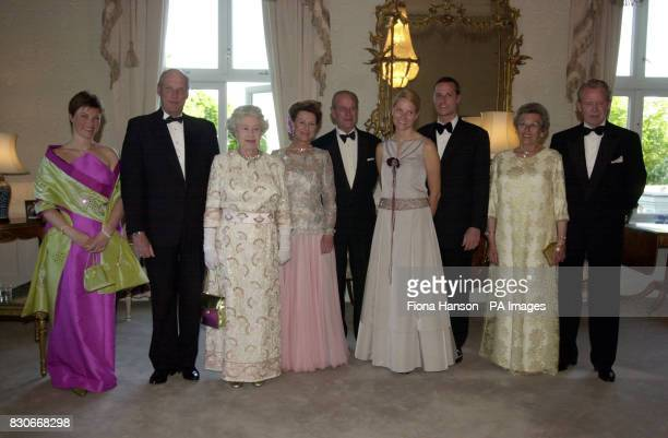 Queen Elizabeth and the Duke of Edinburgh on an official visit to Norway, gave a dinner for among others their hosts. The picture shows from left to...