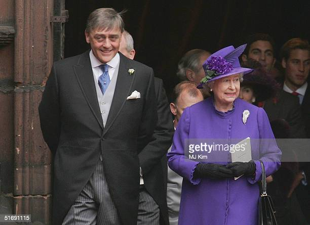 Queen Elizabeth and the Duke of Westminster attend the wedding of Ed Van Cutsem and Lady Tamara Grosvenor at Chester Cathedral on November 6, 2004 in...