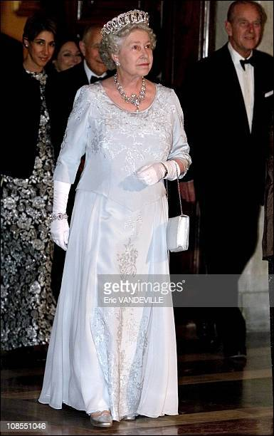 Queen Elizabeth arrive followed by her husband Prince Philip at Quirinal presidential palace to attend at state banquet with Italian President Carlo...