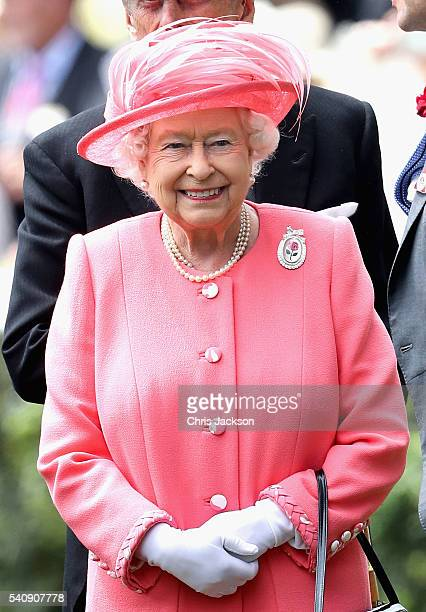 Queen Elizabeth arrives into the Parade Ring on the fourth day of Royal Ascot at Ascot Racecourse on June 17 2016 in Ascot England
