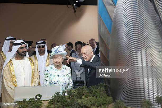 Queen Elizabeth Attends An Unveiling Of A Design For The Shiekh Zayed National Museum And After Take A Walkabout Accompanied By Hh Sheikh Mohammed...