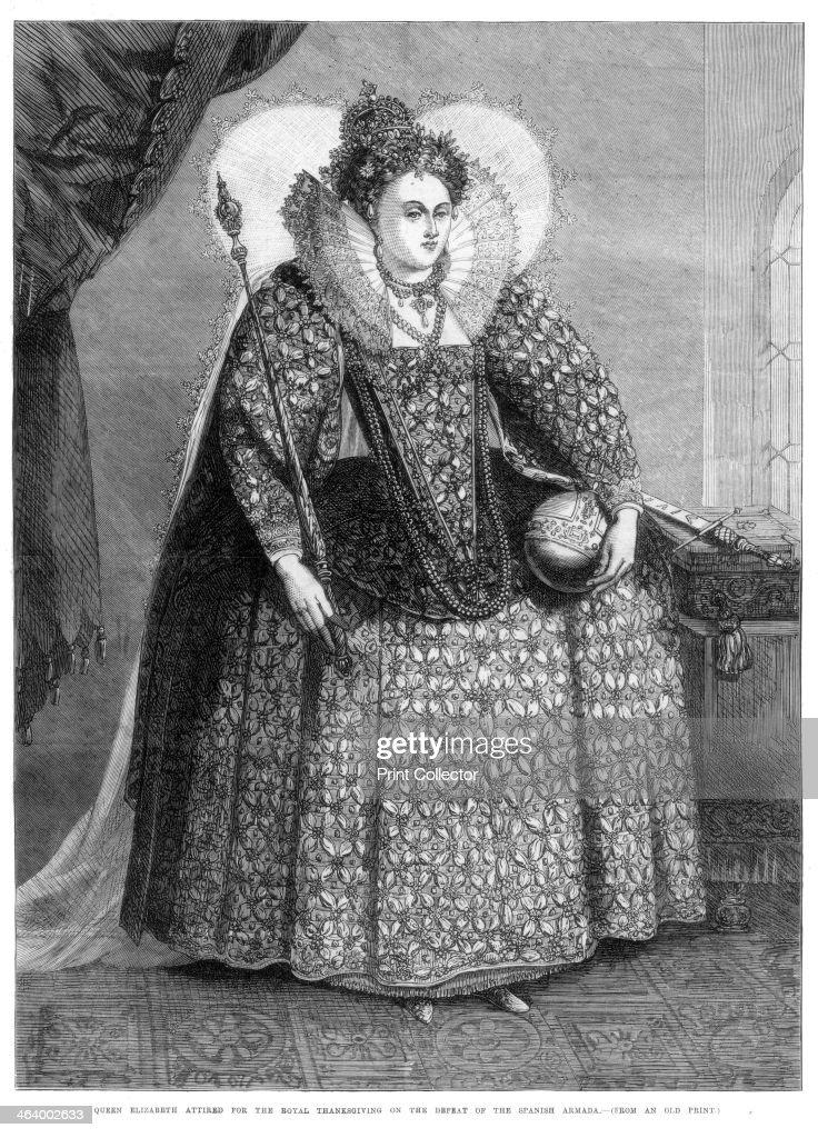 'Queen Elizabeth attired for the royal thanksgiving on the defeat of the Spanish Armada', (1872). : Fotografía de noticias
