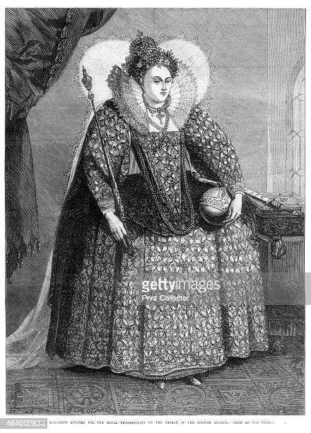 'Queen Elizabeth attired for the royal thanksgiving on the defeat of the Spanish Armada' Elizabeth I in a dress covered in pearls and lace on the...