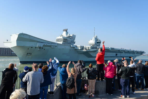 GBR: HMS Queen Elizabeth Departs From Portsmouth Navy Base
