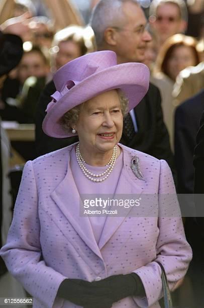 Queen Elizabeth during her visit to the Ancient Roman Forum