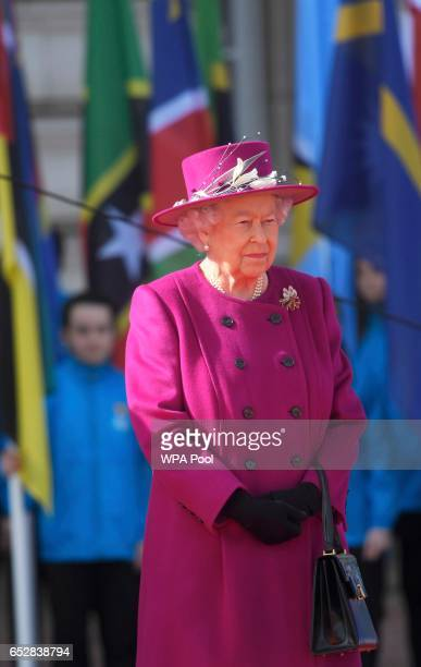 Queen Elizabeth during the launch of The Queen's Baton Relay for the XXI Commonwealth Games being held on the Gold Coast in 2018 at Buckingham Palace...