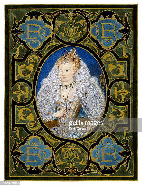 Queen Elizabeth I 16th century Portrait miniature of Elizabeth by Nicholas Hilliard in the collection of the Earl of Dysart Illustration from a work...