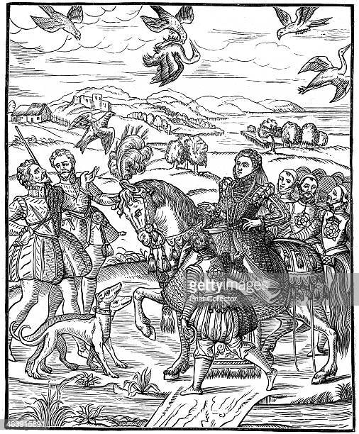 Queen Elizabeth I and her attendants out hawking 1575 The Queen rides sidesaddle on the left a man has just released his hawk while above a hawk is...