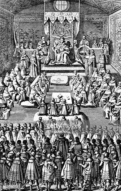 Queen Elizabeth I in Parliament 16th century 'The ancient chamber of the Palace erected in the 12th Century the Commons are shown crowding at the...