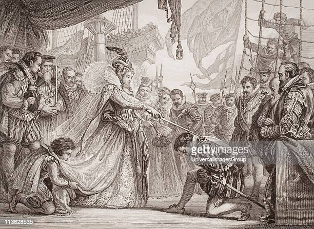 Queen Elizabeth I knighting Drake on board The Golden Hind at Deptford 4th April 1581 Engraved by F Fraenkel after Sir John Gilbert From the book...