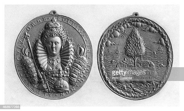 Queen Elizabeth I medal 16th century Illustration after the original in the British Museum London from a work published by Boussod Valadon Co