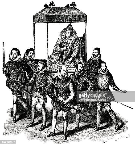 Queen Elizabeth I on way to Hunsdon House England Classical Portfolio of Primitive Carriers by Marshall M Kirman World Railway Publ Co Illustration...