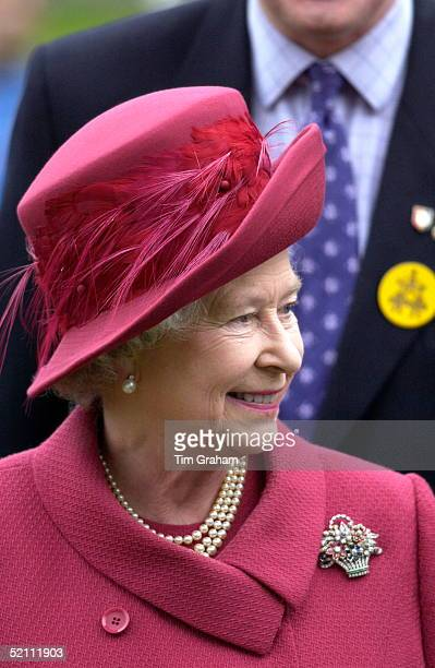 Queen Elizabeth II A Smiling Portrait During Her Visit To Youth Event At The National Sports Centre At Bisham Abbey