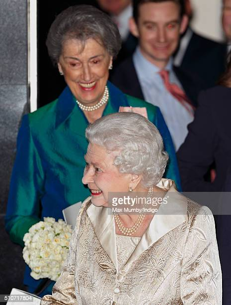 Queen Elizabeth II accompanied by her LadyinWaiting Lady Susan Hussey departs after attending the Gold Service Scholarship awards ceremony at...