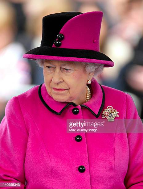 Queen Elizabeth II accompanied by Prince Philip Duke of Edinburgh and Catherine Duchess of Cambridge visits Leicester on the first date of her...