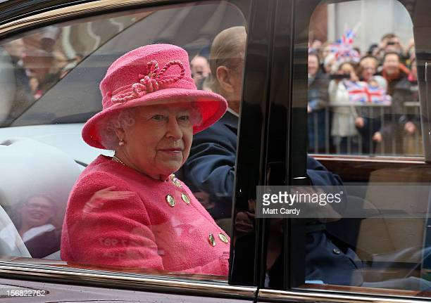 Queen Elizabeth II accompanied by Prince Philip Duke of Edinburgh arrive at the recently refurbished Bristol Old Vic Theatre as part of her Jubilee...