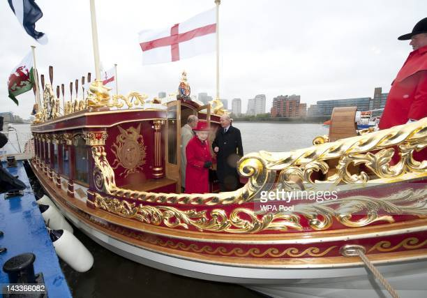 Queen Elizabeth II, accompanied by Prince Philip, Duke of Edinburgh visits Gloriana, the new Royal Rowbarge, built to mark the Queen's Diamond...