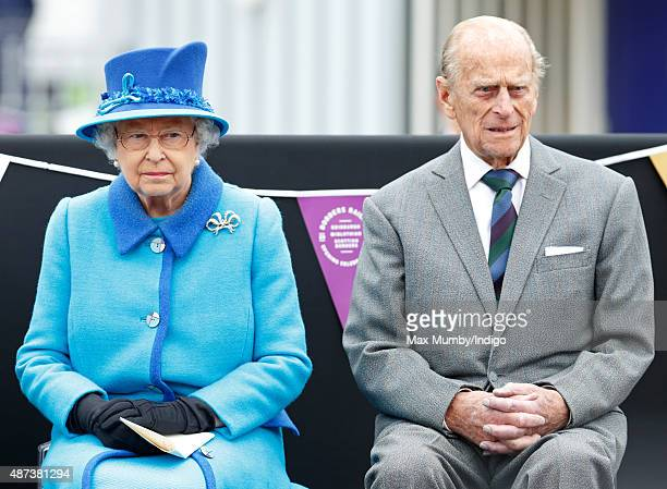 Queen Elizabeth II accompanied by Prince Philip Duke of Edinburgh opens the new Scottish Border's Railway during a visit to Tweedbank Station on...