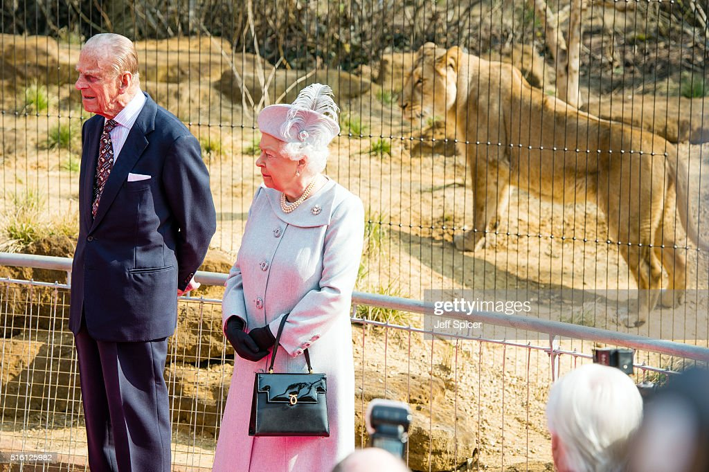 The Queen & Duke Of Edinburgh Visit London Zoo To Open The 'Land Of The Lions' Exhibit : News Photo