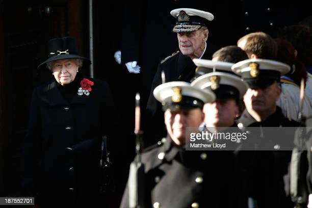 Queen Elizabeth II accompanied by Prince Phillip Duke of Edinburgh leave the Foreign and Commonwealth Office shortly before 11am to take part in a...