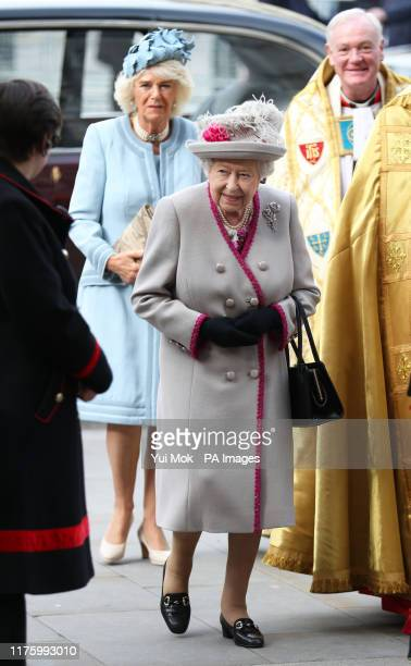 Queen Elizabeth II accompanied by the Duchess of Cornwall arrives for a service at Westminster Abbey in London to mark 750 years since Edward the...