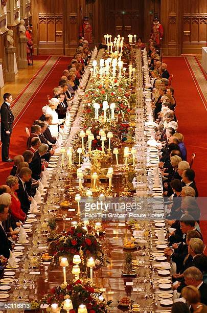 Queen Elizabeth II Addresses Guests At A State Banquet Hosted For French President Jacques Chirac And Madame Bernadette Chirac At Windsor Castle In...