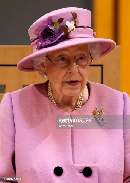 Queen Elizabeth II addresses the Senedd inside the Siambr during the ceremonial opening of the Sixth Senedd at The Senedd on October 14, 2021 in...