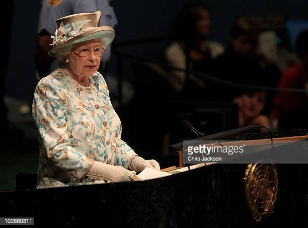 Queen Elizabeth II addresses the United Nations at the UN Headquarters on July 6 2010 in New York City Queen Elizabeth II and Prince Philip Duke of...
