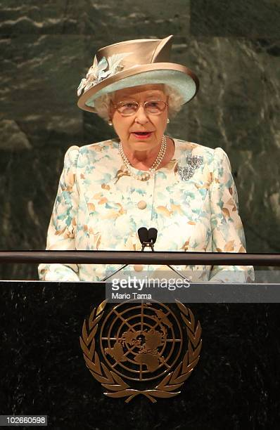Queen Elizabeth II addresses the United Nations General Assembly July 6 2010 in New York City The Queen will visit Ground Zero later today in her...