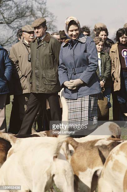 Queen Elizabeth II admires a pack of hounds at the Badminton Horse Trials, UK, 1978.