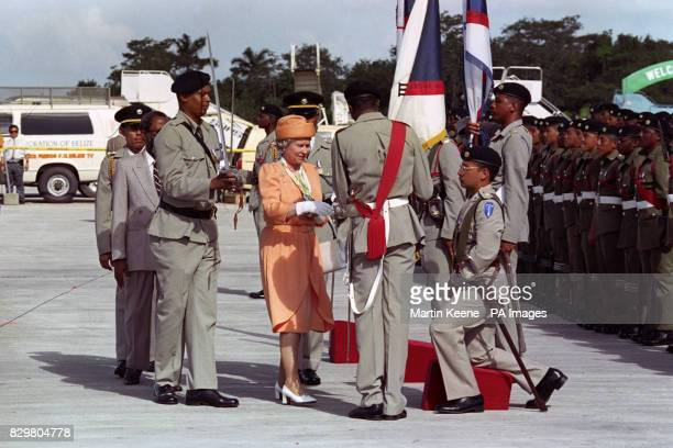 Queen Elizabeth II after arriving in Belize for a three day visit