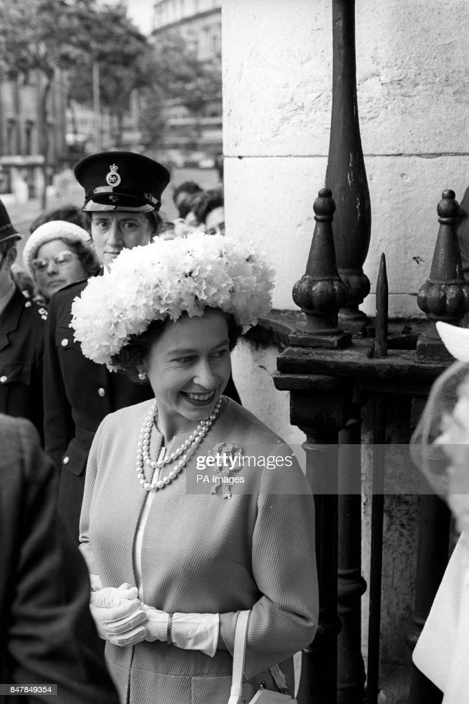 Queen Elizabeth Ii After Attending The Wedding Of Marquess Hartington And Amanda Carmen Heywood