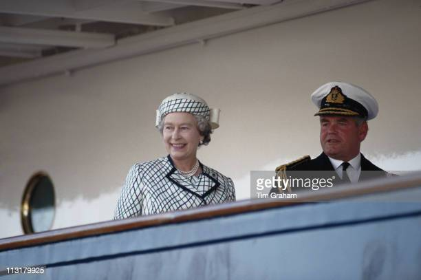 Queen Elizabeth II after boarding the Royal yacht Britannia in Portsmouth Hampshire England Great Britain 6 August 1992 Britannia was to leave...