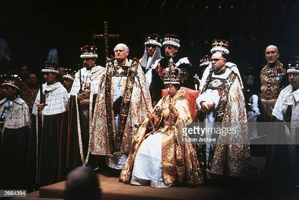 Queen Elizabeth II after her coronation ceremony in Westminster Abbey, London.