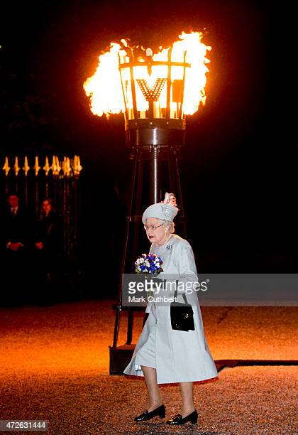 Queen Elizabeth II after lighting a beacon during three days of national commemorations to mark the 70th anniversary of VE Day on May 8 2015 in...