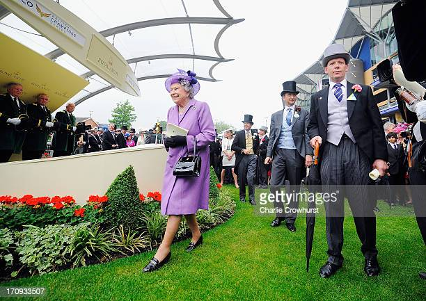 Queen Elizabeth II after the Gold Cup race on Ladies' Day during day three of Royal Ascot at Ascot Racecourse on June 20 2013 in Ascot England
