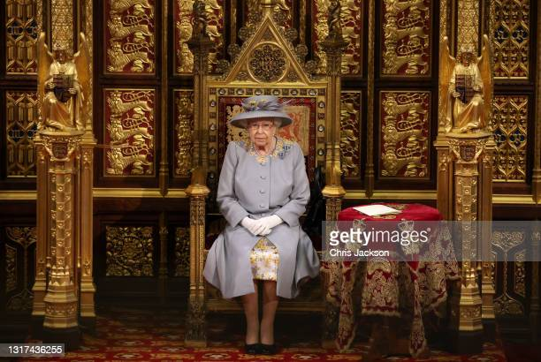 Queen Elizabeth II ahead of the Queen's Speech in the House of Lord's Chamber during the State Opening of Parliament at the House of Lords on May 11,...