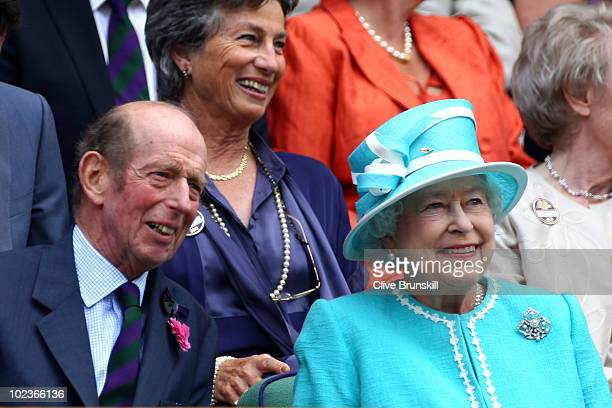 Queen Elizabeth II ahead of the second round match between Andy Murray of Great Britain against Jarkko Nieminen of Finland on Day Four of the...