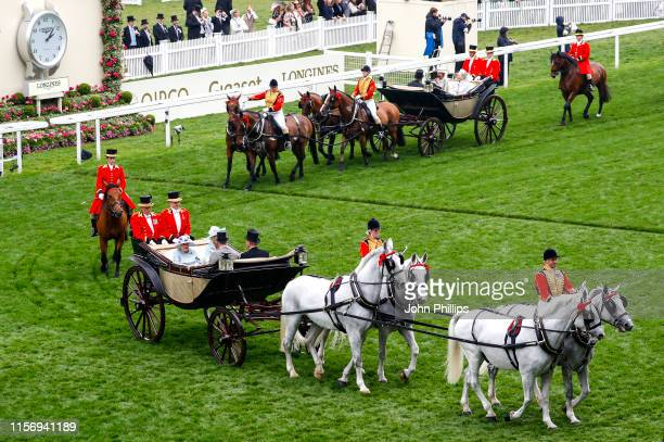 Queen Elizabeth II Alan Brooke 3rd Viscount Brookeborough Prince Charles Prince of Wales and Camilla Duchess of Cornwall arrive in the Royal...